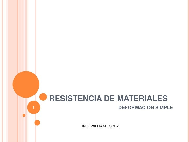 RESISTENCIA DE MATERIALES<br />1<br />DEFORMACION SIMPLE<br />ING. WILLIAM LOPEZ<br />
