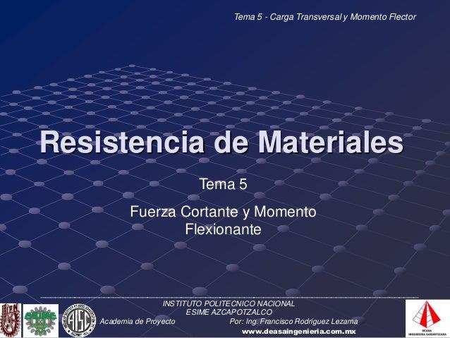 Tema 5 - Carga Transversal y Momento FlectorResistencia de Materiales                                      Tema 5         ...