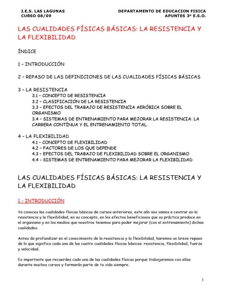 I.E.S. LAS LAGUNAS   DEPARTAMENTO DE EDUCACION FISICACURSO 08/09                           APUNTES 3º E.S.O.