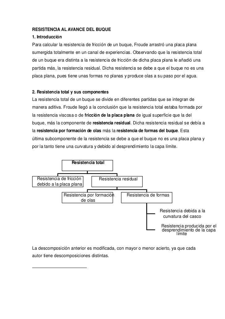 RESISTENCIA AL AVANCE DEL BUQUE1. IntroducciónPara calcular la resistencia de fricción de un buque, Froude arrastró una pl...