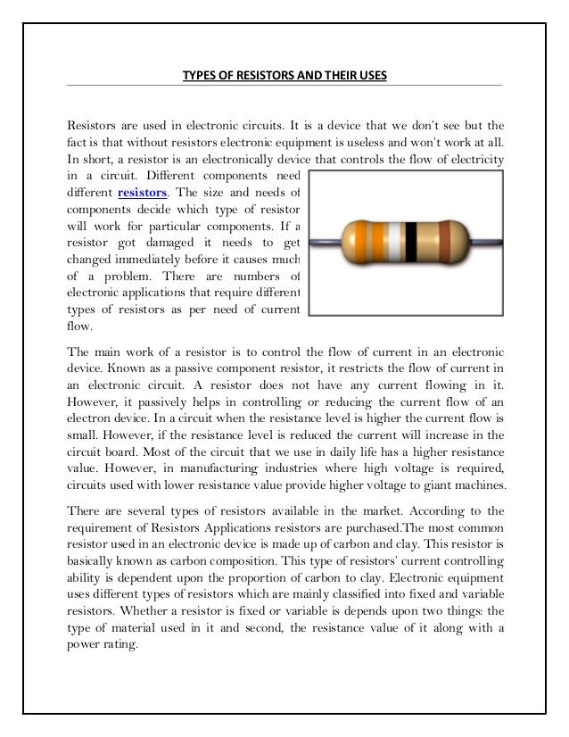 TYPES OF RESISTORS AND THEIR USES