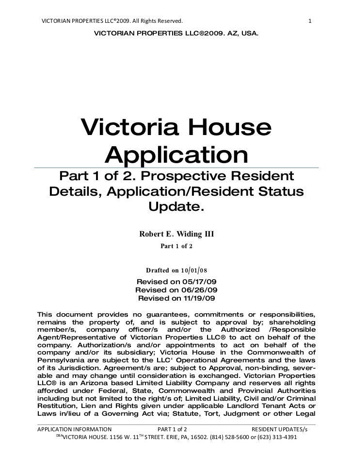 VICTORIAN PROPERTIES LLC®2009. All Rights Reserved.                                              1                     VIC...