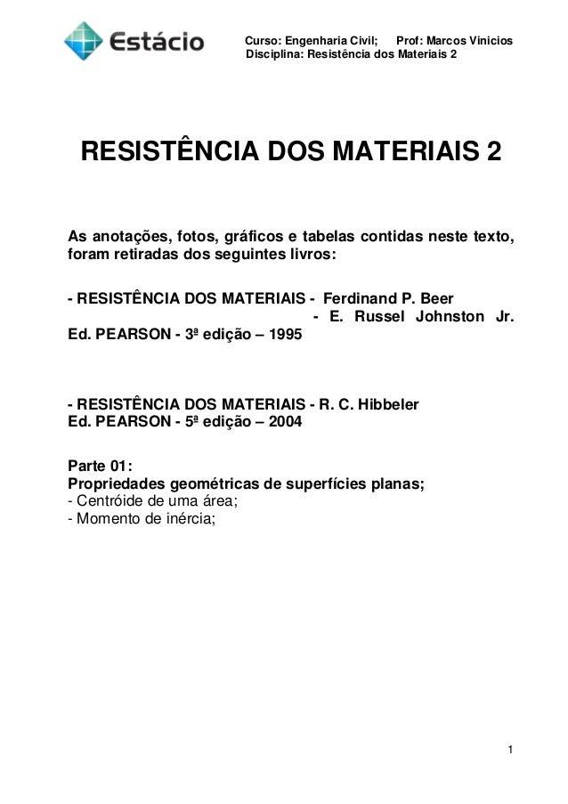 Curso: Engenharia Civil; Prof: Marcos Vinicios Disciplina: Resistência dos Materiais 2 1 RESISTÊNCIA DOS MATERIAIS 2 As an...