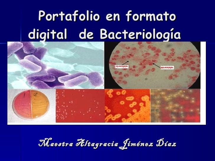 Portafolio en formato digital  de Bacteriología  Maestra Altagracia Jiménez Díaz