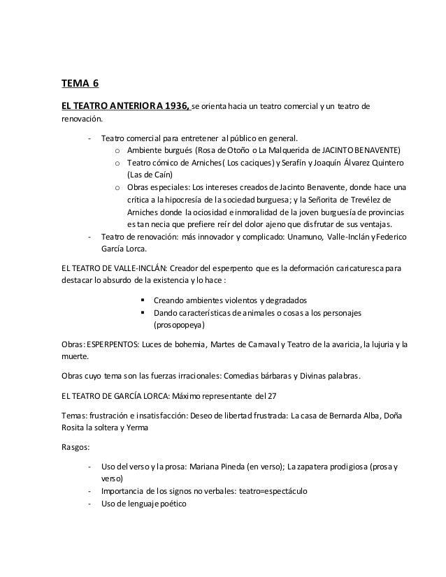 TEMA 6  EL TEATRO ANTERIOR A 1936, se orienta hacia un teatro comercial y un teatro de  renovación.  - Teatro comercial pa...