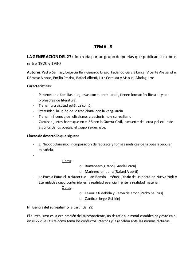 TEMA- 8  LA GENERACIÓN DEL 27: formada por un grupo de poetas que publican sus obras  entre 1920 y 1930  Autores: Pedro Sa...