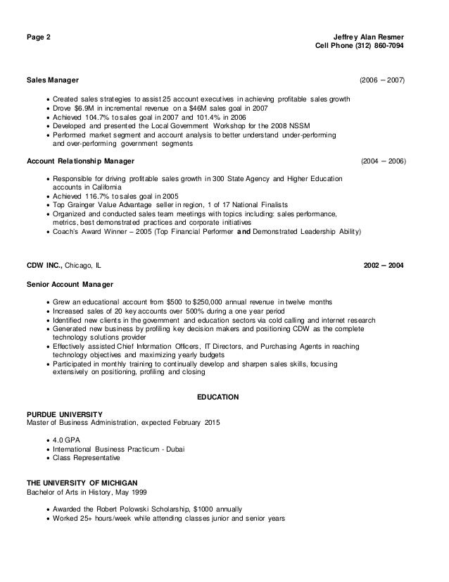mobile phone sales manager resume
