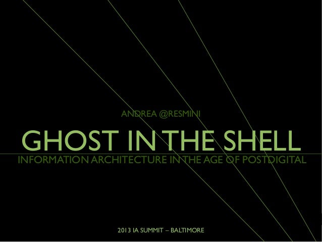 2013 IA SUMMIT – BALTIMOREINFORMATION ARCHITECTURE IN THE AGE OF POSTDIGITALANDREA @RESMINIGHOST IN THE SHELL