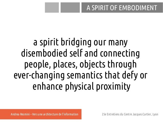 A SPIRIT OF EMBODIMENT        a spirit bridging our many    disembodied self and connecting     people, places, objects th...