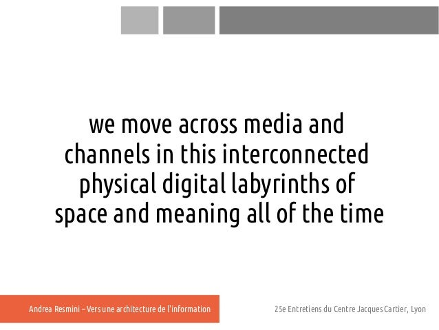 we move across media and        channels in this interconnected         physical digital labyrinths of       space and mea...
