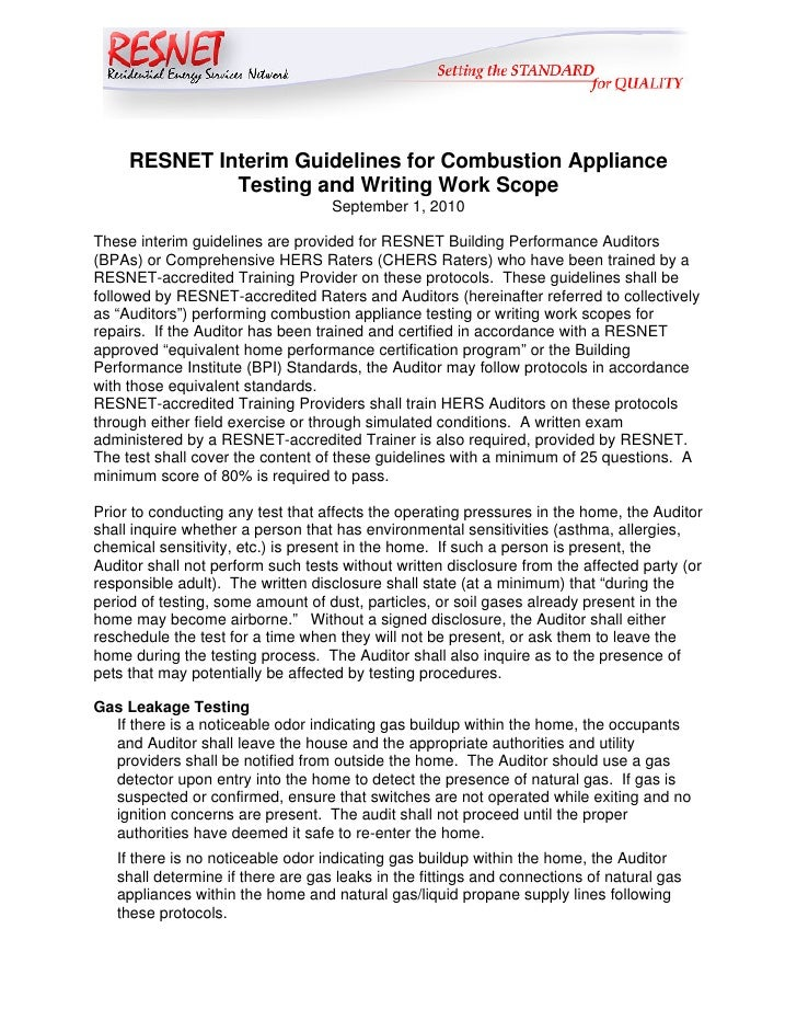 RESNET Interim Guidelines for Combustion Appliance              Testing and Writing Work Scope                            ...