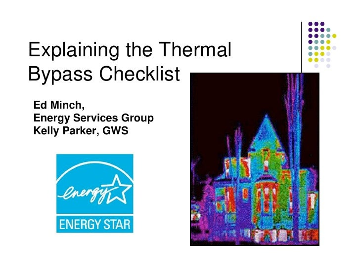Explaining the ThermalBypass ChecklistEd Minch,Energy Services GroupKelly Parker, GWS