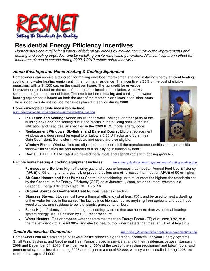 RESNET: Residential Energy Efficiency Incentives