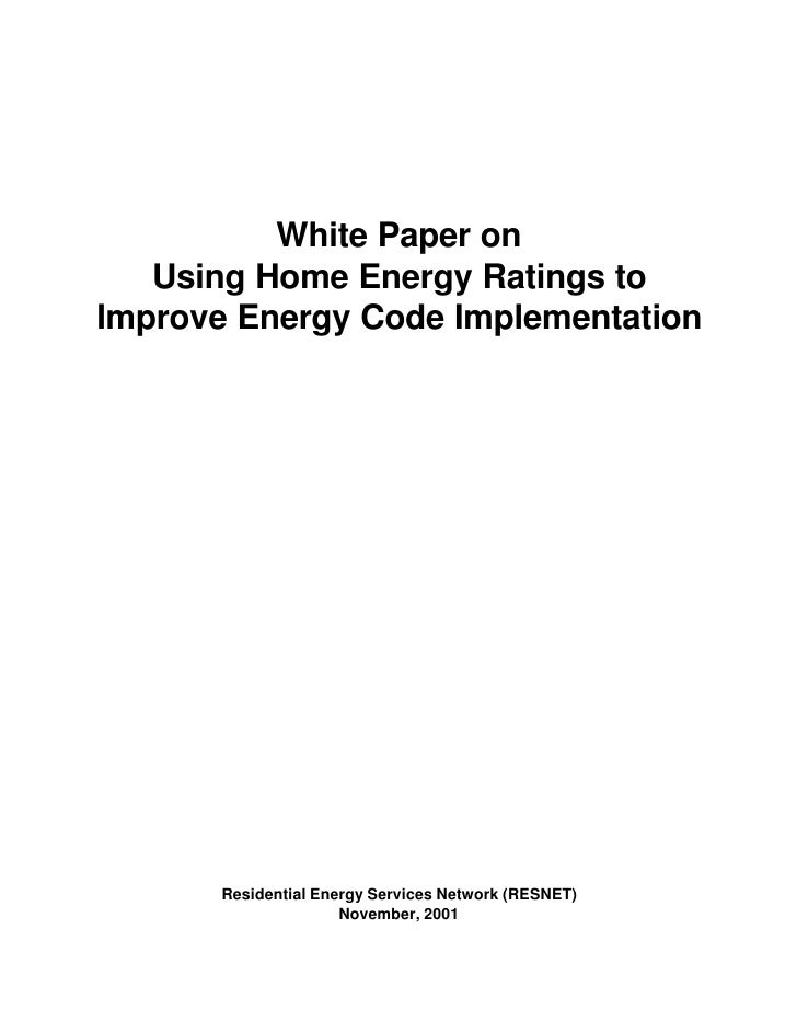 White Paper: Using Home Energy Ratings to Improve Energy Code Implementation