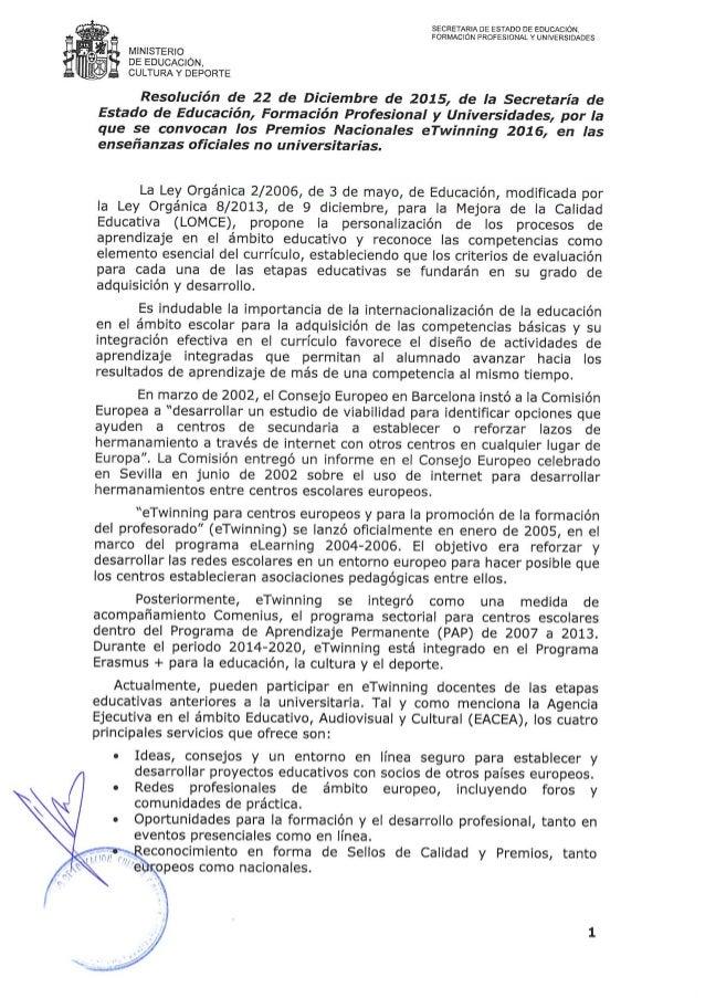 SECRETARIA DE ESTADO DE EDUCACION,  FORMACION PROFESIONAL Y UNNERSIDADES  MINISTERIO I DE EDUCACION.  CULTURA Y DEPORTE  R...