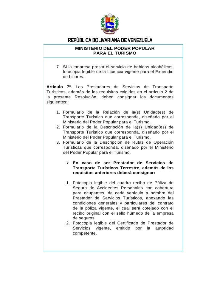 Resoluci n licencia de turismo 2009 for Ministerio del turismo