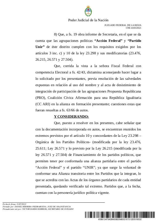 Resolución por reconocimiento de la alianza Juntos Slide 3