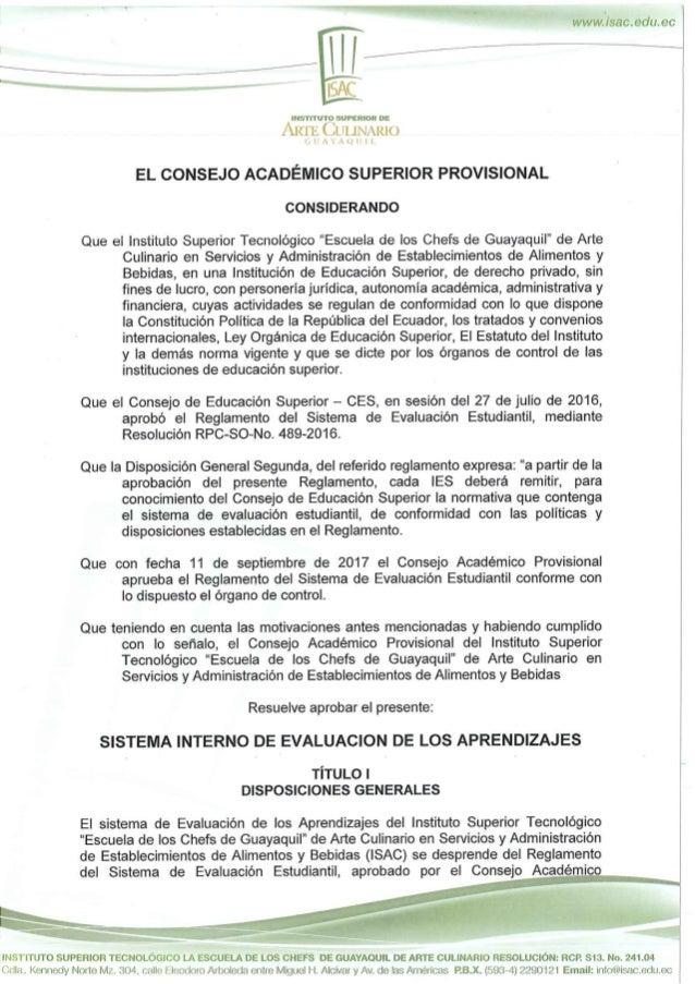 Resolución sistema interno de evaluación de los aprendices