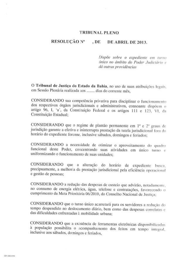 Minuta da Resolução do Turnão em 2013