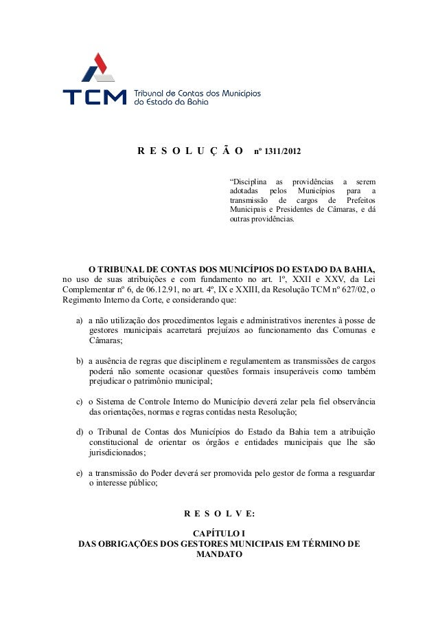 """R E S O L U Ç Ã O               nº 1311/2012                                             """"Disciplina as providências a ser..."""