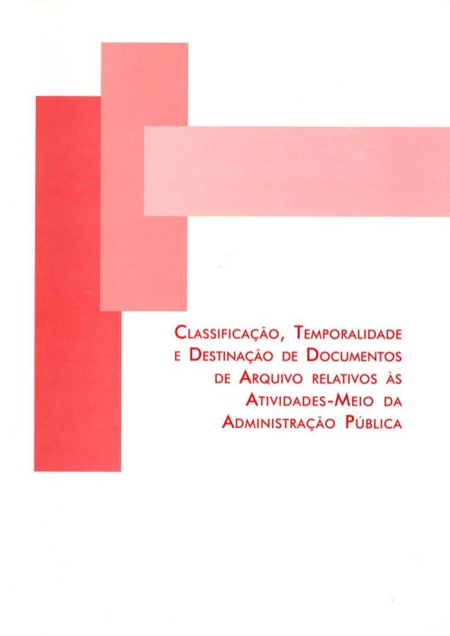 CLASSIFICAÇÃO, TEMPORALIDADE E DESTINAÇÃO DE DOCUMENTOS DE ARQUIVO RELATIVOS ÀS ATIVIDADES-MEIO DA ADMINISTRAÇÃO PÚBLICA