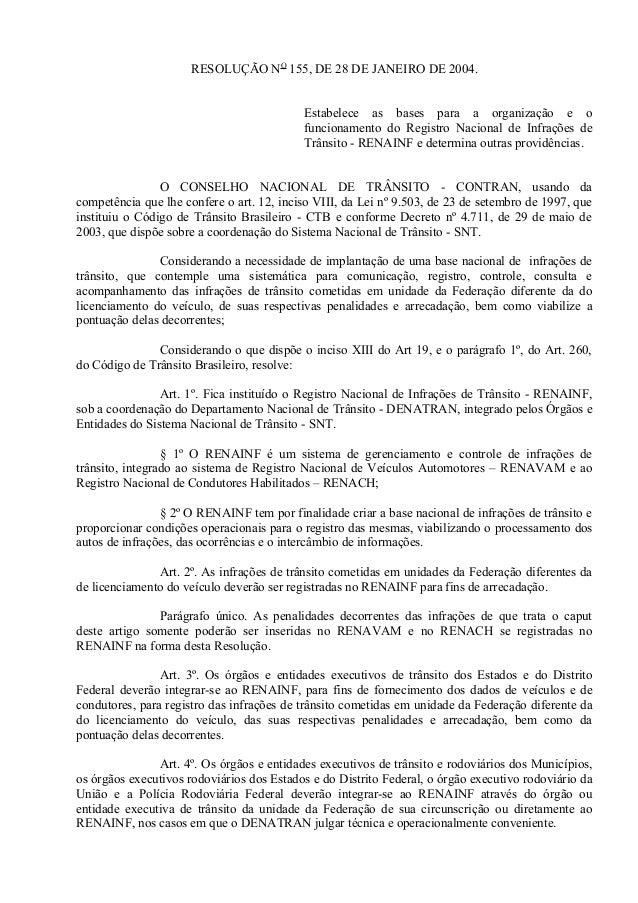 RESOLUÇÃO NO 155, DE 28 DE JANEIRO DE 2004. Estabelece as bases para a organização e o funcionamento do Registro Nacional ...