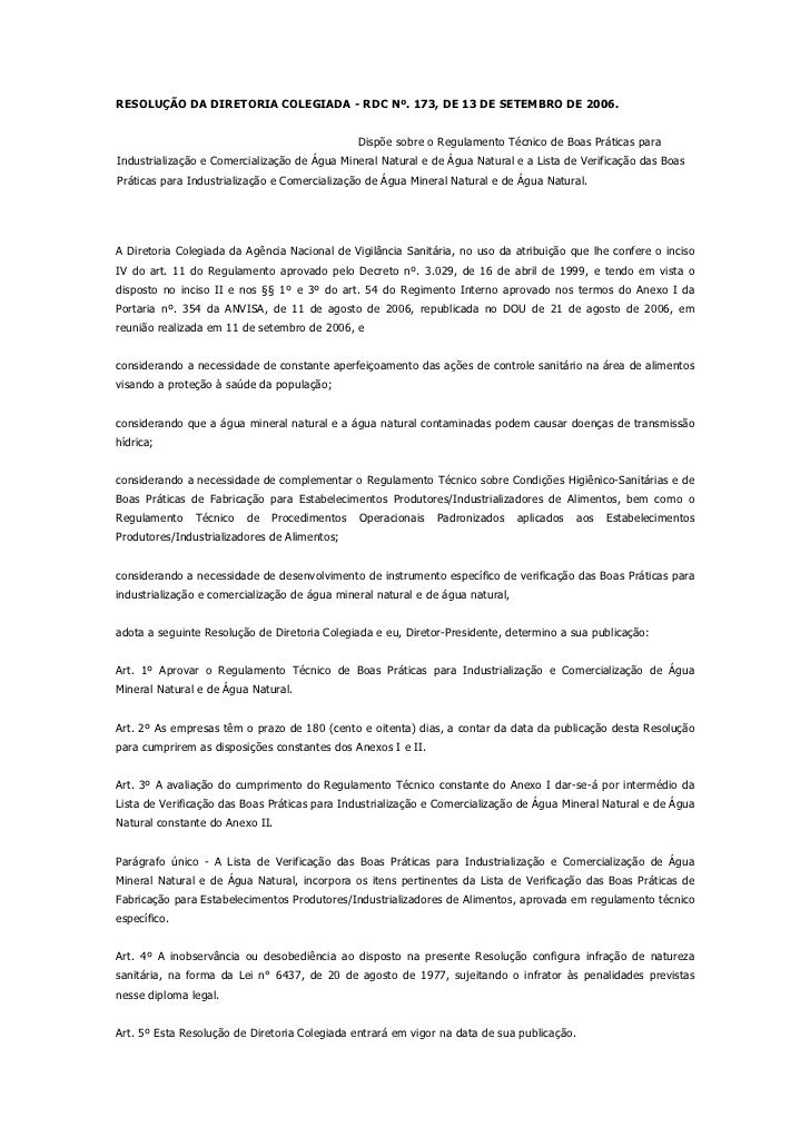 RESOLUÇÃO DA DIRETORIA COLEGIADA - RDC Nº. 173, DE 13 DE SETEMBRO DE 2006.                                               D...