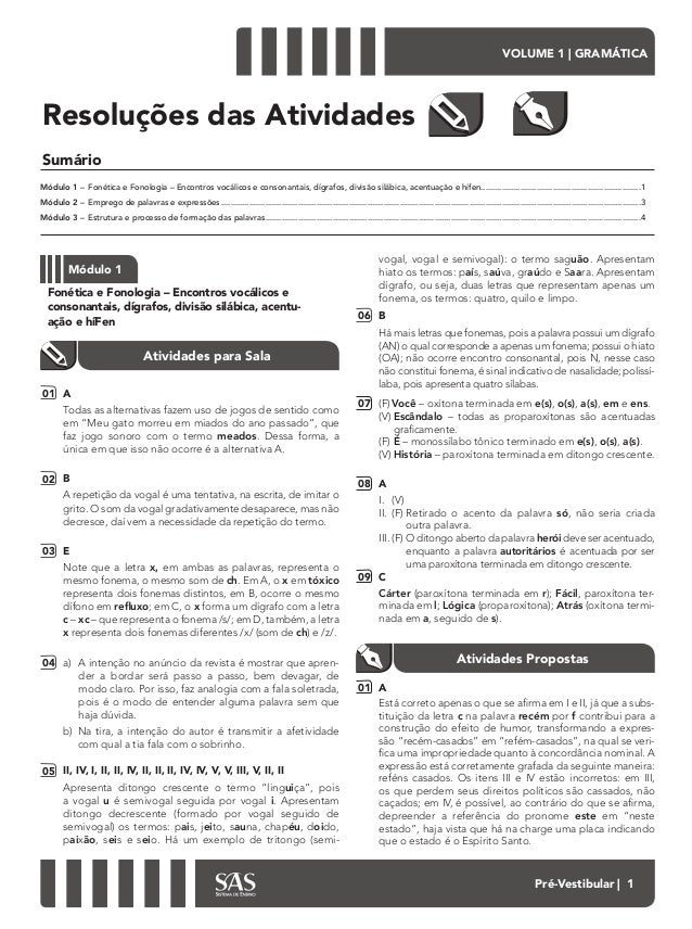 VOLUME 1 | GRAMÁTICA Pré-Vestibular | 1 Sumário Resoluções das Atividades Módulo 1– Fonética e Fonologia – Encontros voc...