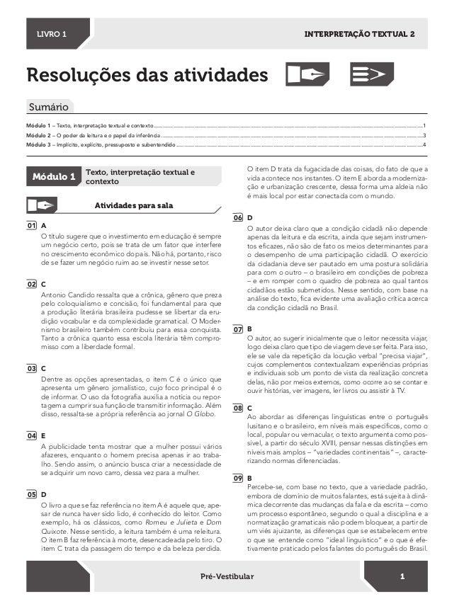 Resoluções das atividades Sumário Módulo 1 – Texto, interpretação textual e contexto.........................................