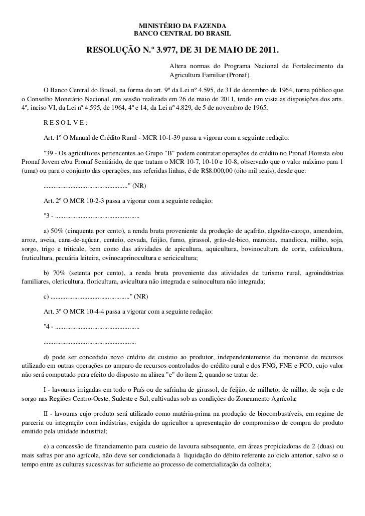 MINISTÉRIO DA FAZENDA                                                             BANCO CENTRAL DO BRASIL                 ...