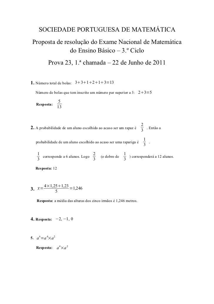 SOCIEDADE PORTUGUESA DE MATEMÁTICA Proposta de resolução do Exame Nacional de Matemática               do Ensino Básico – ...