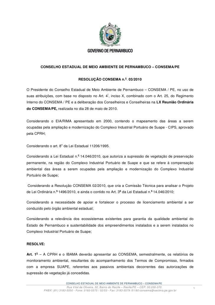 CONSELHO ESTADUAL DE MEIO AMBIENTE DE PERNAMBUCO – CONSEMA/PE                                                             ...