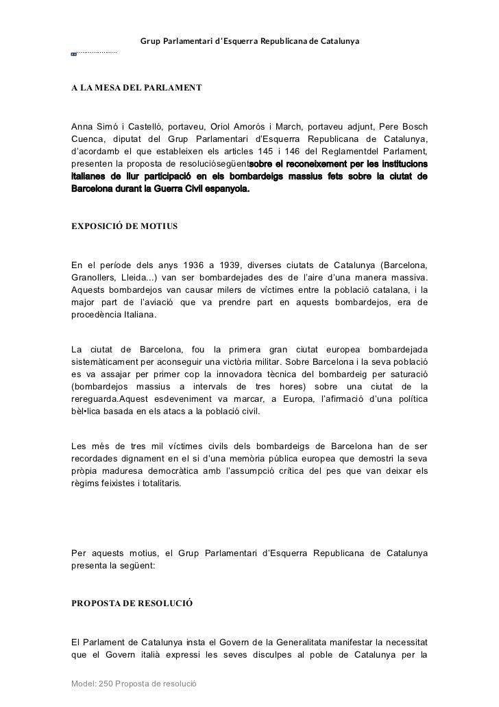 Grup Parlamentari d'Esquerra Republicana de Catalunya .....................A LA MESA DEL PARLAMENTAnna Simó i Castelló, po...