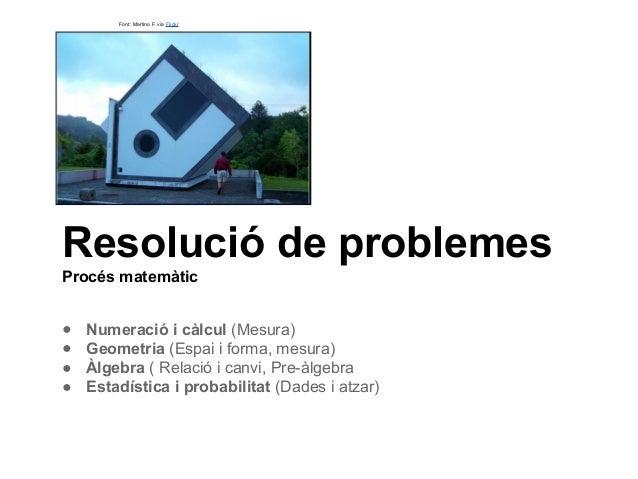 Resolució de problemes Procés matemàtic ● Numeració i càlcul (Mesura) ● Geometria (Espai i forma, mesura) ● Àlgebra ( Rela...