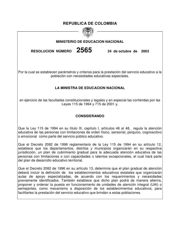 REPUBLICA DE COLOMBIA                             MINISTERIO DE EDUCACION NACIONAL          RESOLUCION NÚMERO             ...