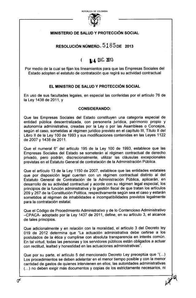 REPÚBLICA DE COLOMBIA     MINISTERIO DE SALUD Y PROTECCIÓN SOCIAL  RESOLUCIÓN NÚMEFÉOc 51 8 5 DE 2013  l mi,  mc.  m  Por ...