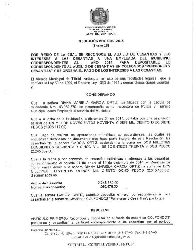 DEPARTAMENTO DE ANTIOQUIA MUNICIPIO DE 'ITHRIBI NIT B9098078l-7  ALCALDIA MUNICIPAL  RESOLUCIÓN NRO 016. -2015 (Enero 16) ...