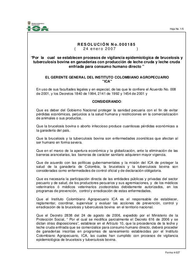 Hoja No. 1/5                                             ____                             RESOLUCIÓN No.000185            ...
