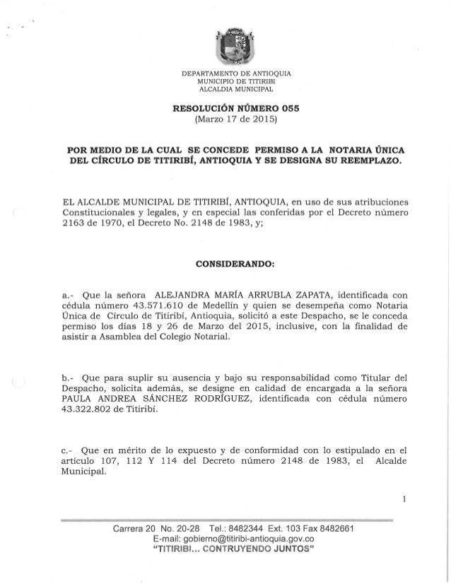 DEPARTAMENTO DE ANTIOQUIA MUNICIPIO DE TITIRIBI ALCALDIA MUNICIPAL  RESOLUCIÓN NÚMERO 05s (Marzo 17 de 2015)  POR MEDIO DE...