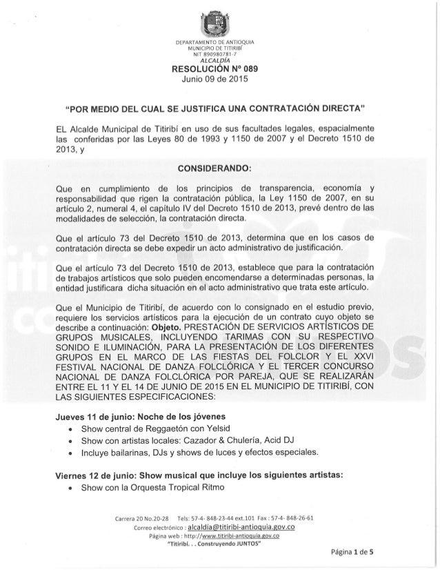 """DEPARTAMENTO DE ANTIOQUIA MUNICIPIO DE TITIRIBI NIT 890980781 »7  ALcALpíA RESOLUCION N° 089  Junio O9 de 2015  """"POR MEDIO..."""