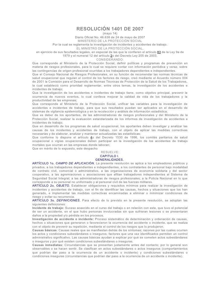 RESOLUCIÓN 1401 DE 2007                                                     (mayo 14)                                 Diar...