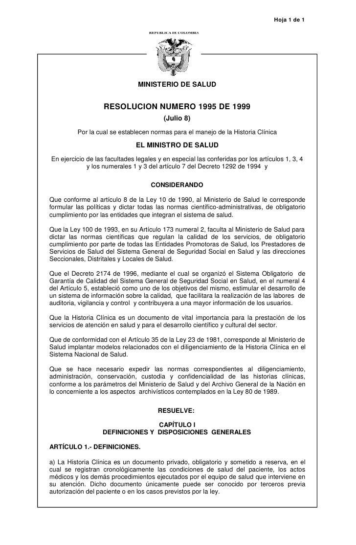 Hoja 1 de 1                                     MINISTERIO DE SALUD                      RESOLUCION NUMERO 1995 DE 1999   ...