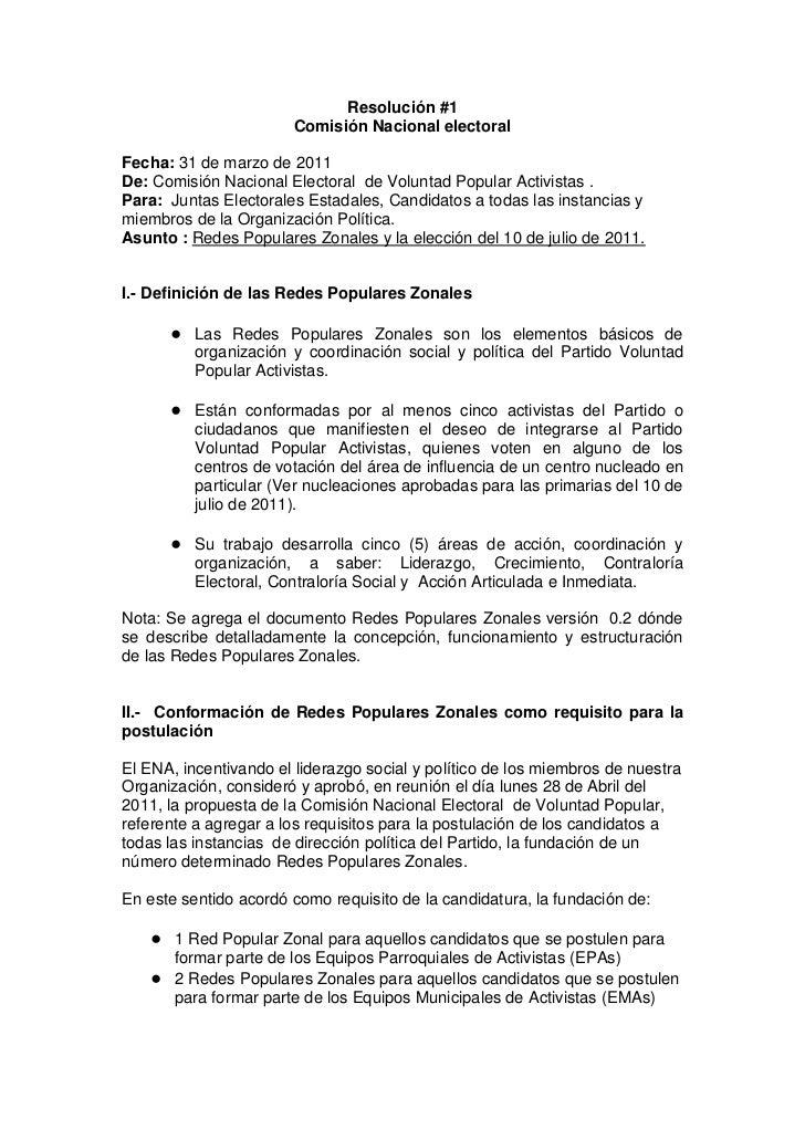 Resolución #1<br />Comisión Nacional electoral<br />Fecha: 31 de marzo de 2011<br />De: Comisión Nacional Electoral  de Vo...