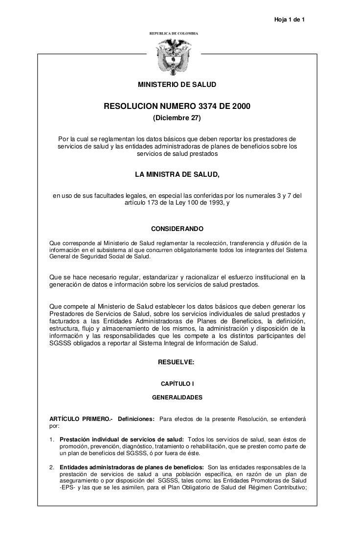 Hoja 1 de 1                                 MINISTERIO DE SALUD                    RESOLUCION NUMERO 3374 DE 2000         ...
