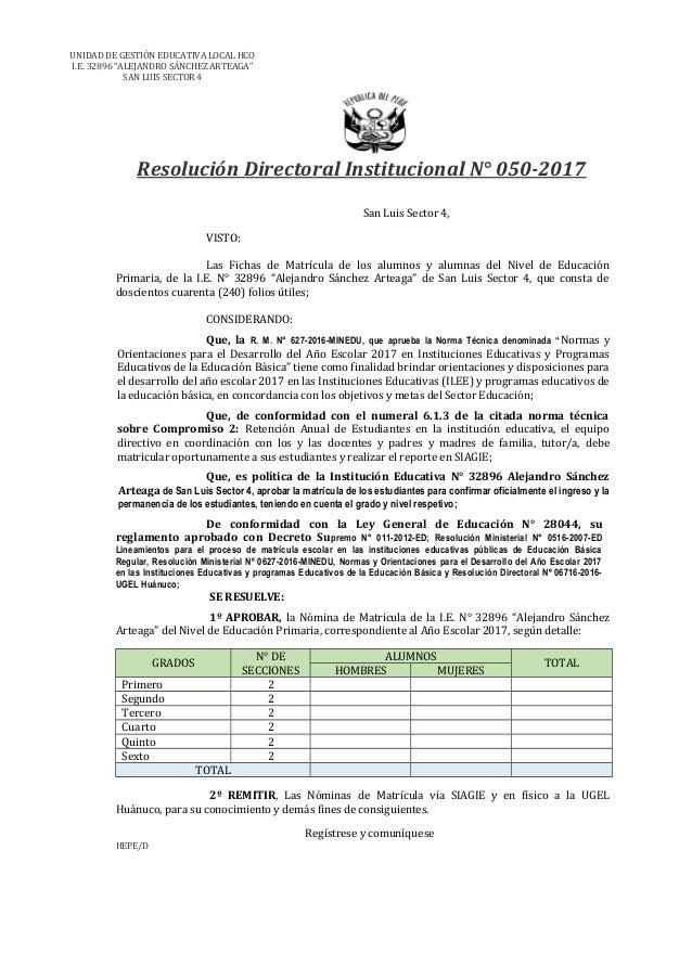 """UNIDAD DE GESTIÓN EDUCATIVA LOCAL HCO I.E. 32896 """"ALEJANDRO SÁNCHEZ ARTEAGA"""" SAN LUIS SECTOR 4 Resolución Directoral Insti..."""