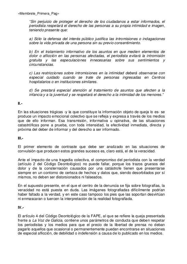 """«Membrete_Primera_Pag»  """"Sin perjuicio de proteger el derecho de los ciudadanos a estar informados, el periodista respetar..."""
