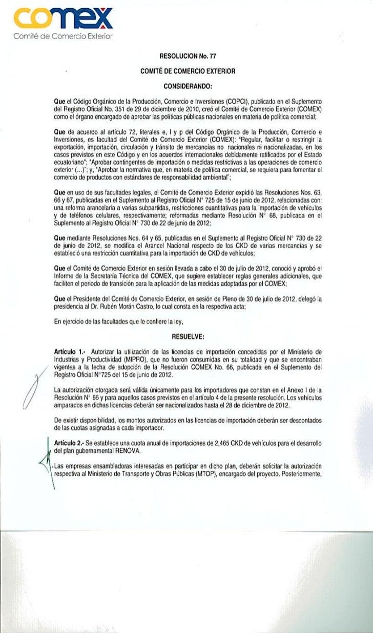 Resolución 77 COMEX