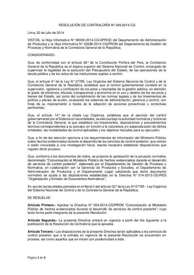 Página 1 de 6 RESOLUCIÓN DE CONTRALORÍA Nº 349-2014-CG Lima, 22 de julio de 2014 VISTOS, la Hoja Informativa N° 00008-2014...