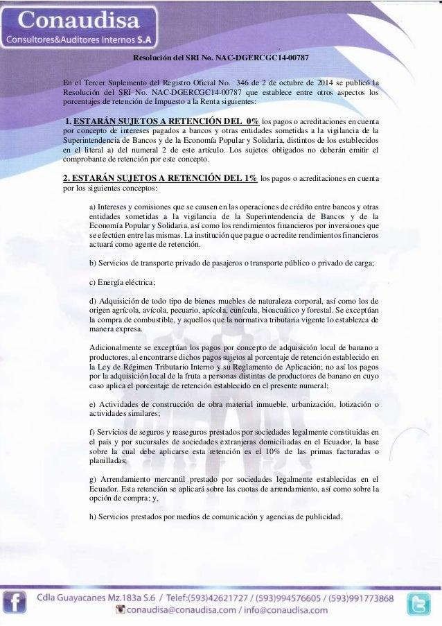 Resolución del SRI No. NAC-DGERCGC14-00787  Resolución del SRI No. NAC-DGERCGC14-00787  En el Tercer Suplemento del Regist...