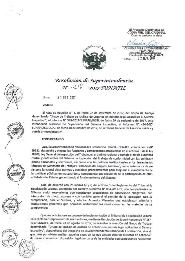 Resolución de superintendencia n° 218 2017-sunafil - aprueban criterios normativos adoptados por grupo de trabajo
